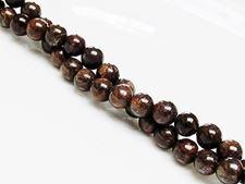 Image de 6x6 mm, perles rondes, pierres gemmes, bronzite, naturelle