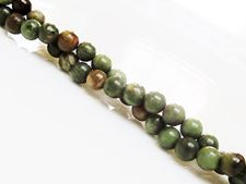 Picture of 6x6 mm, round, gemstone beads, common opal, green, natural