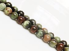 Picture of 8x8 mm, round, gemstone beads, common opal, green, natural