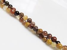 Picture of 4x4 mm, round, gemstone beads, petrified wood, natural, Brazil
