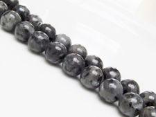Image de 10x10 mm, perles rondes, pierres gemmes, larvikite, naturelle