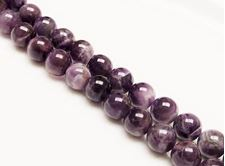 Picture of 10x10 mm, round, gemstone beads, amethyst, natural, AB-grade