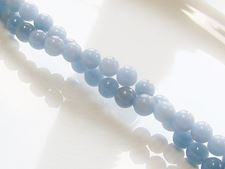 Picture of 6x6 mm, round, gemstone beads, angelite, light blue, natural