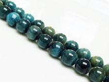 Afbeelding van 8x8 mm, rond, edelsteen kralen, apatiet, groen-blauw, natuurlijk, A-klasse