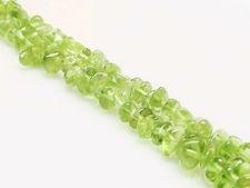 Image de 3x8 mm, copeaux, perles pierres gemmes, percées au centre, péridot, naturel, qualité B, un brin