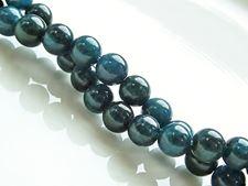 Afbeelding van 6x6 mm, rond, edelsteen kralen, diep groen-blauw apatiet, natuurlijk