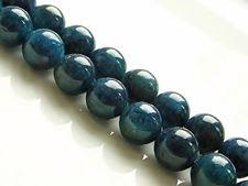 Afbeelding van 8x8 mm, rond, edelsteen kralen, apatiet, diep groen-blauw, natuurlijk