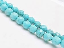 Picture of 8x8 mm, round, gemstone beads, magnesite, turquoise blue, faceted