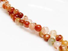 Afbeelding van 6x6 mm, rond, edelsteen kralen, aventurijn, perzik-oranje rood, natuurlijk