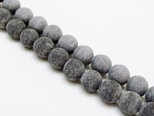 Picture of 10x10 mm, round, gemstone beads, Blackstone, frosted