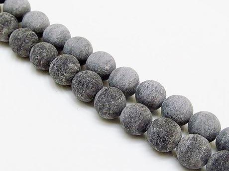Afbeelding van 10x10 mm, rond, edelsteen kralen, Blackstone, mat