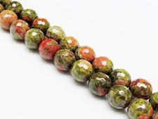 Picture of 10x10 mm, round, gemstone beads, unakite, natural, faceted
