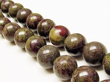 Picture of 14x14 mm, round, gemstone beads, Bloodstone, natural
