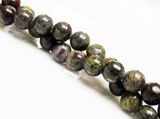 Picture of 6x6 mm, round, gemstone beads, Bloodstone, natural