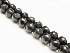 Picture of 10x10 mm, round, gemstone beads, onyx, black, large shiny facets on frosted round background