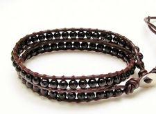 Image de Bracelet wrap en cuir, perles pierres gemmes, onyx, noir