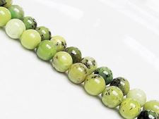 Picture of 8x8 mm, round, gemstone beads, chrysoprase, apple-green, natural