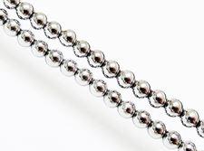Image de 4x4 mm, perles rondes, pierres gemmes, hématite, métallisée de rhodium