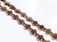 Picture of 8x8 mm, Greek cross, gemstone beads, hematite, red brown metalized