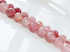 Picture of 10x10 mm, round, gemstone beads, ruby quartz, natural, faceted