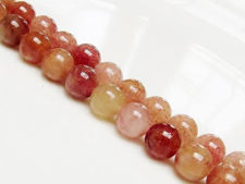 Picture of 8x8 mm, round, gemstone beads, ruby quartz, natural