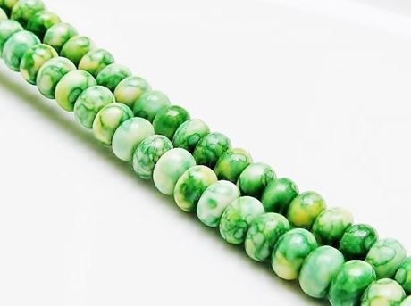Picture of 4x6 mm, rondelle, gemstone beads, howlite, green-yellow