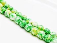 Picture of 8x8 mm, round, gemstone beads, howlite, green-yellow