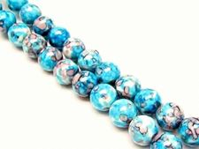 Picture of 8x8 mm, round, gemstone beads, howlite, blue