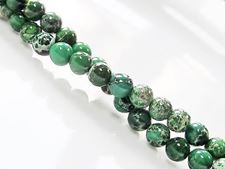 Picture of 6x6 mm, round, gemstone beads, impression jasper, A-grade, emerald green