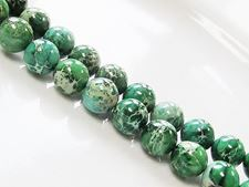 Picture of 10x10 mm, round, gemstone beads, impression jasper, A-grade, emerald green