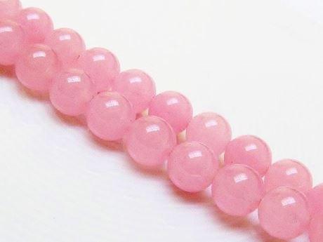 Afbeelding van 10x10 mm, rond, edelsteen kralen, jade, zacht meloen roze, A-klasse