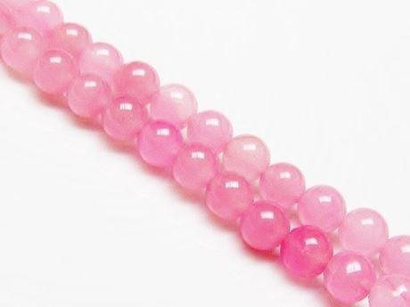 Afbeelding van 6x6 mm, rond, edelsteen kralen, jade, zacht meloen roze, A-klasse
