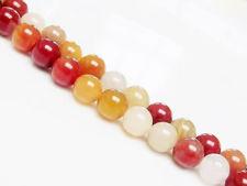 Afbeelding van 8x8 mm, rond, edelsteen kralen, jade, geel en rood, natuurlijk