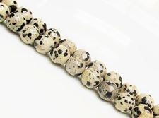 Picture of 8x8 mm, round, gemstone beads, Dalmatian jasper, natural, faceted