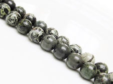 Picture of 10x10 mm, round, gemstone beads, crocodile or Kambamba jasper, natural