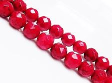 Picture of 8x8 mm, round, gemstone beads, magnesite, berry red, faceted