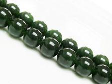 Afbeelding van 10x10 mm, rond, edelsteen kralen, jade, diep olijfgroen, A-klasse