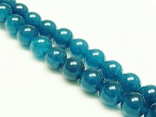 Picture of 10x10 mm, round, gemstone beads, Malaysian jade, peacock blue