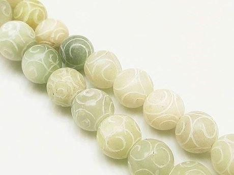 Afbeelding van 10x10 mm, rond, edelsteen kralen, nieuwe jade, natuurlijk, gekerfd