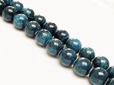 Afbeelding van 12x12 mm, rond, edelsteen kralen, Mashan jade, diep cyaan blauw