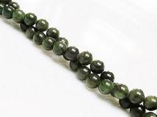 Afbeelding van 6x6 mm, rond, edelsteen kralen, Canadese jade, nefriet, natuurlijk
