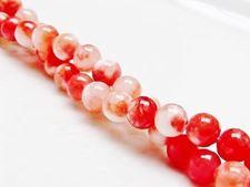 Image de 6x6 mm, perles rondes, pierres gemmes, panaché de rouge pavot et blanc