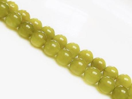 Afbeelding van 8x8 mm, rond, edelsteen kralen, olivijn jade, natuurlijk, doorschijnend