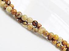 Picture of 4x4 mm, round, gemstone beads, Picture jasper, natural