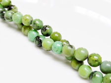 Image de 6x6 mm, perles rondes, pierres gemmes, chrysoprase chinoise, naturelle