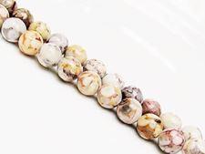 Image de 8x8 mm, perles rondes, pierres gemmes, jaspe océanique, beige, naturel