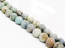 Afbeelding van 8x8 mm, rond, edelsteen kralen, Afrikaanse turkoois, natuurlijk, mat