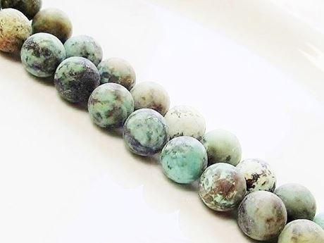 Afbeelding van 10x10 mm, rond, edelsteen kralen, Afrikaanse turkoois, natuurlijk, mat