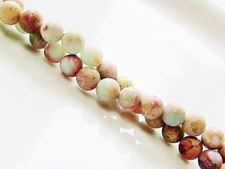 Picture of 6x6 mm, round, gemstone beads, impression jasper, natural, frosted