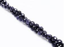 Image de 4x4 mm, perles rondes, pierres gemmes, rivière d'or, bleu nuit, à facettes